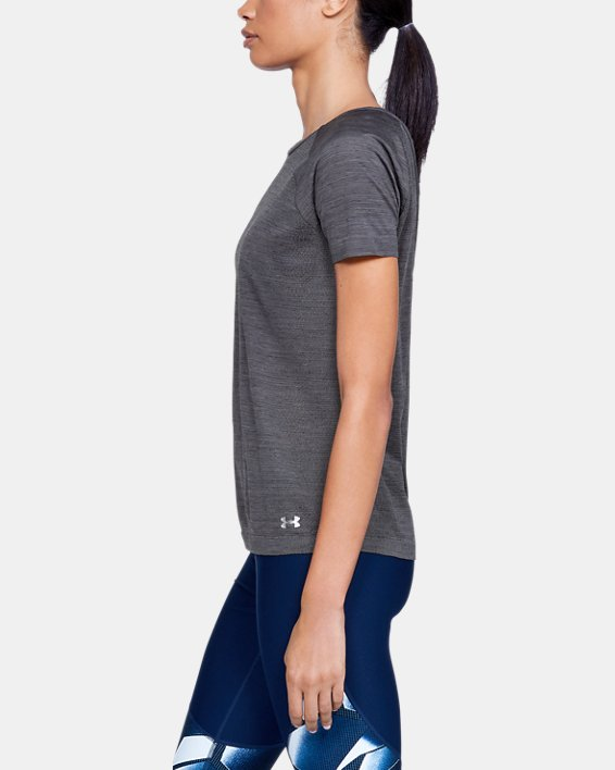 Women's UA Vanish Seamless  Spacedye Short Sleeve, Black, pdpMainDesktop image number 3