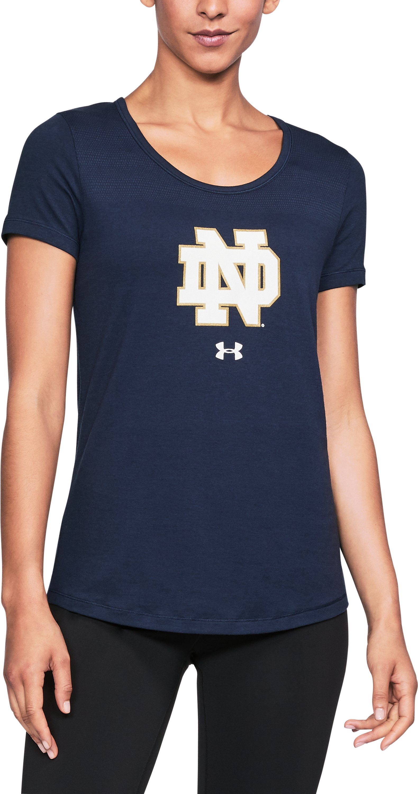 Women's Notre Dame UA Vent Short Sleeve T-Shirt, Midnight Navy