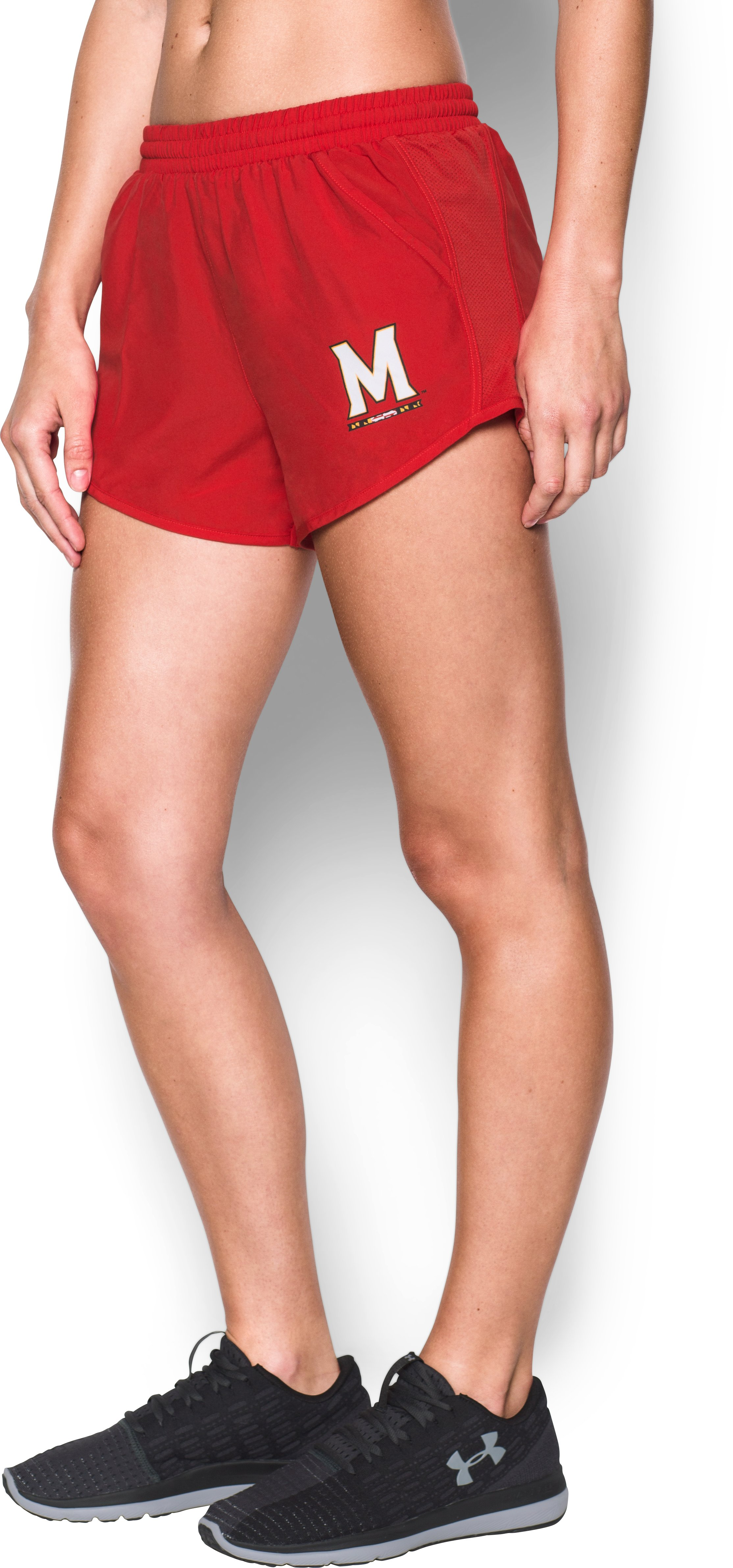 Women's Maryland UA Fly By Shorts, Red,