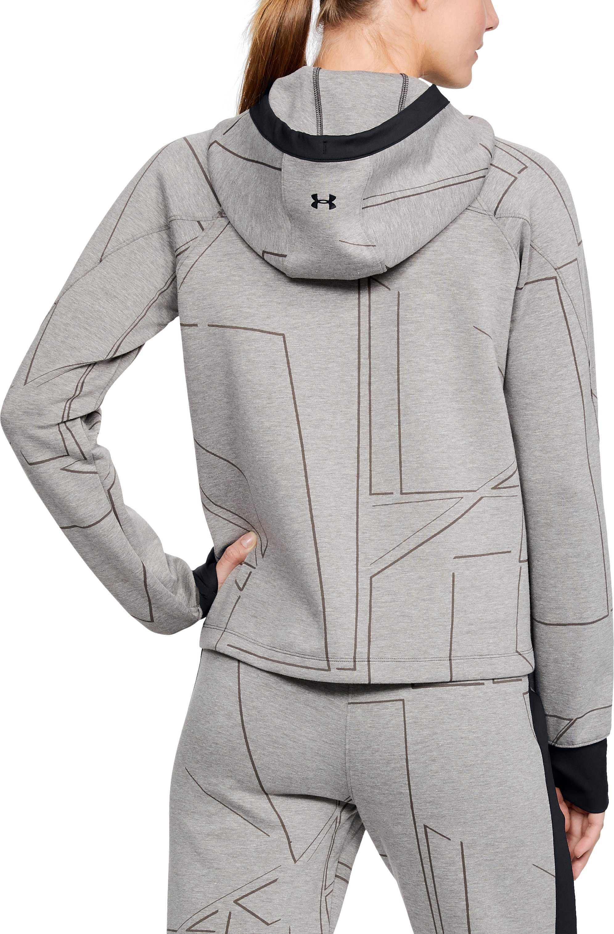 Women's UA Spacer Burnout Hoodie, CHARCOAL MEDIUM HEATHER,