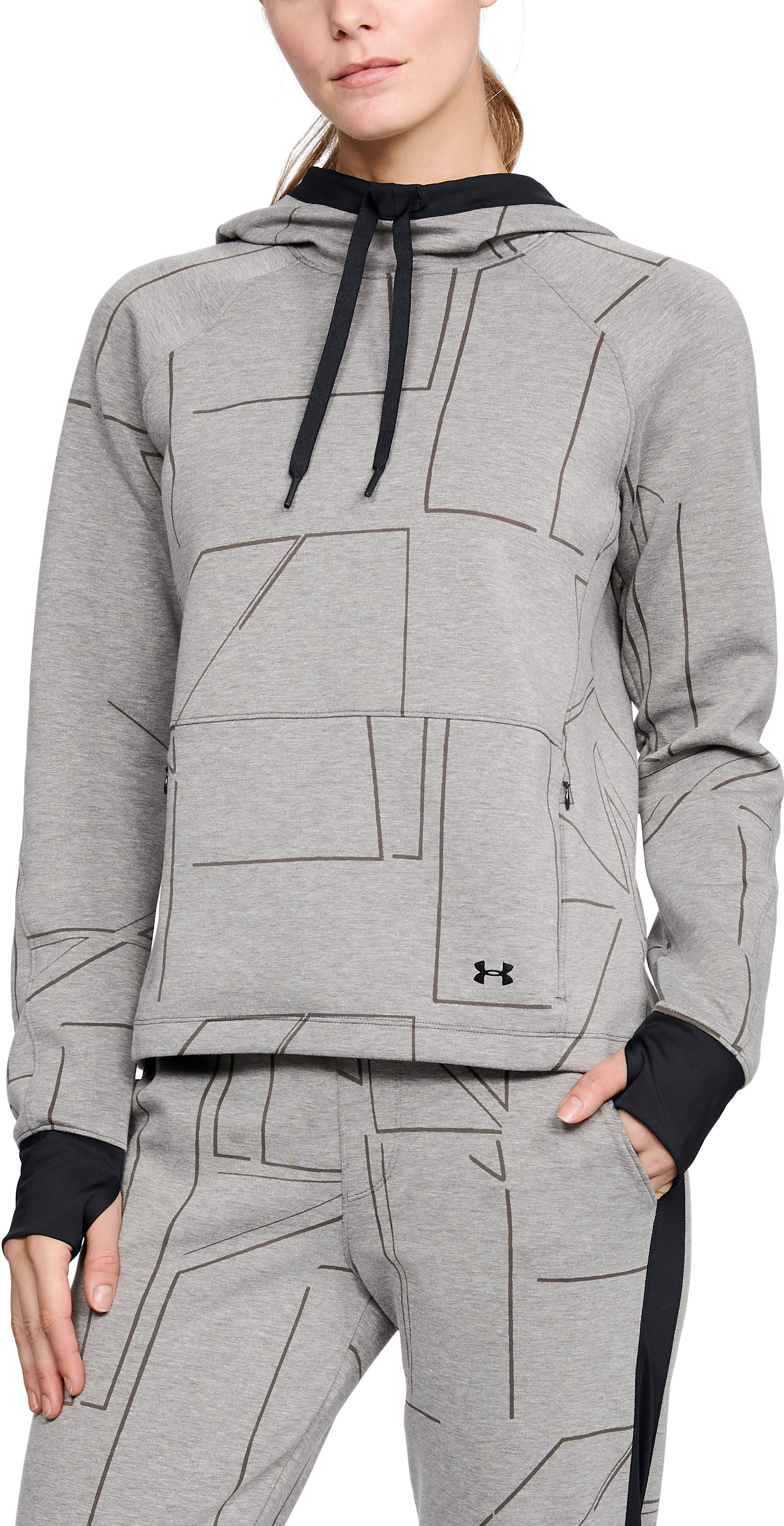 Women's UA Spacer Burnout Hoodie, CHARCOAL MEDIUM HEATHER