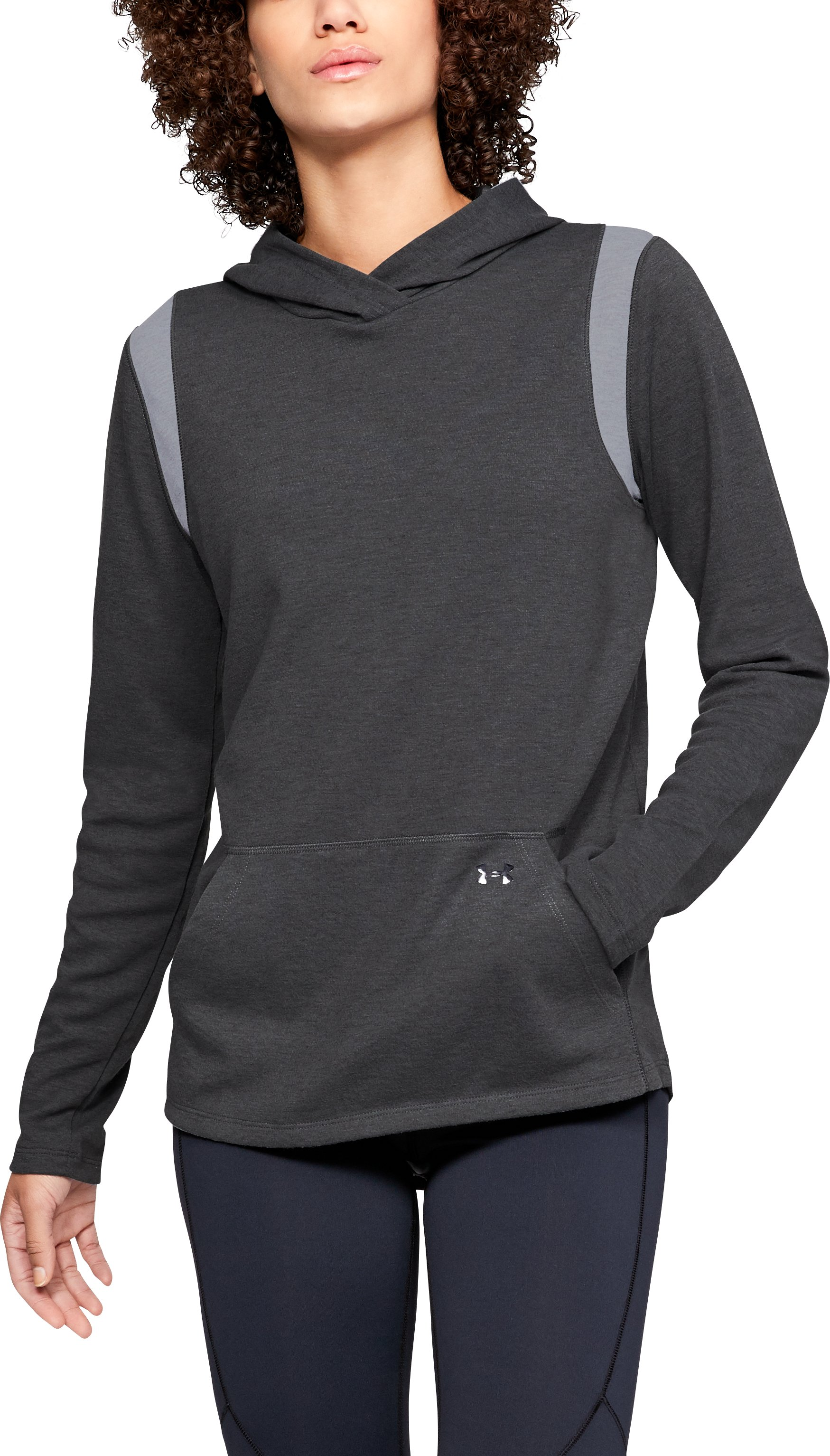 Women's ColdGear® Infrared Layer Hoodie, Charcoal Light Heather