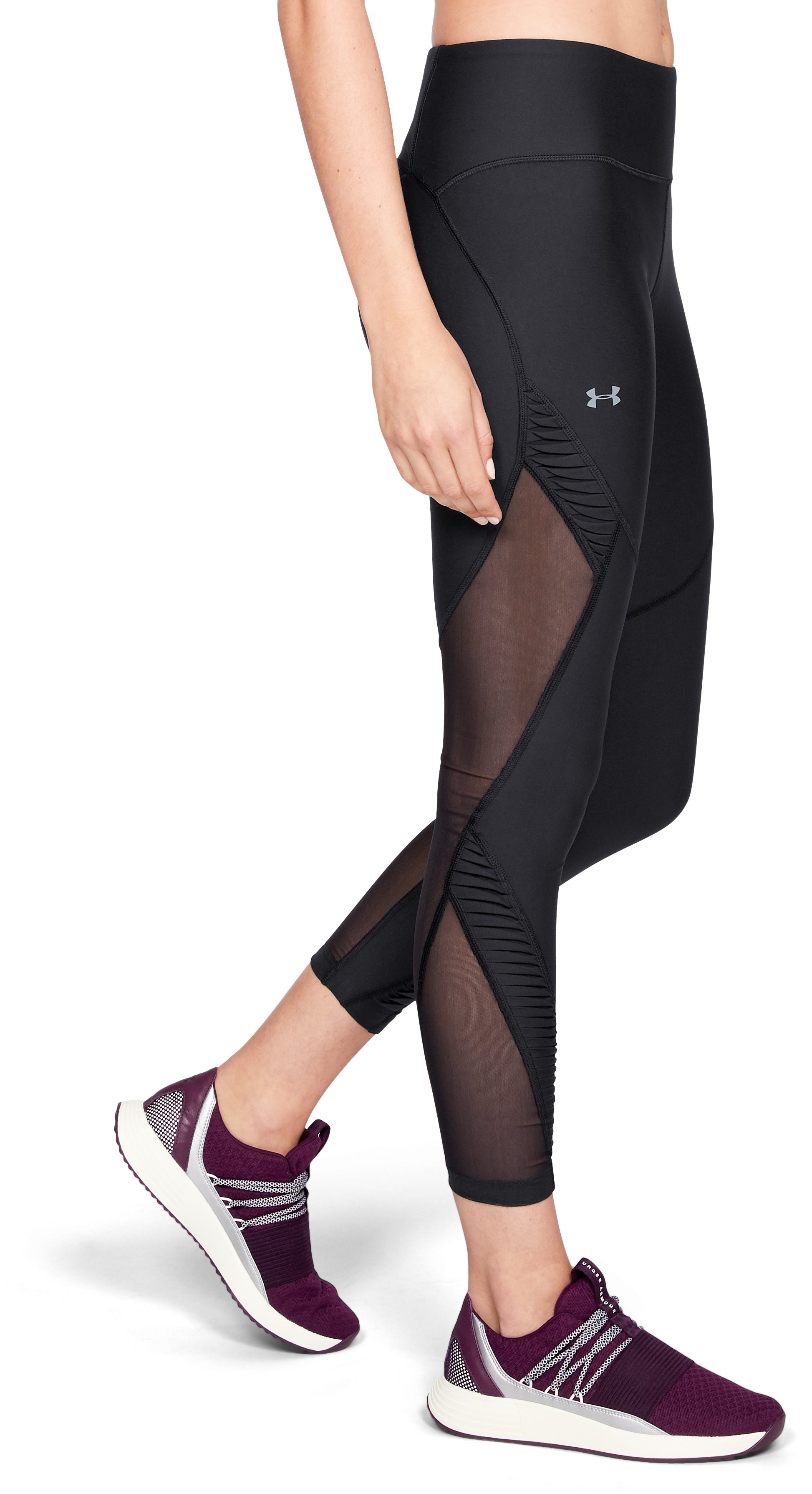 Women's UA Vanish Pleated Crop, Black ,