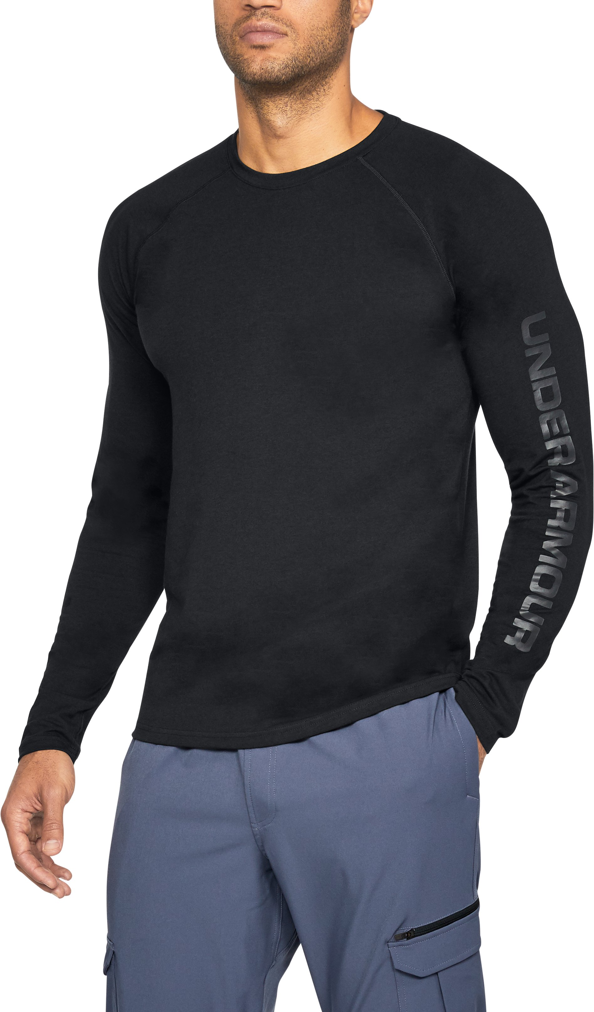 Men's UA Unstoppable Logo Long Sleeve T-Shirt, Black