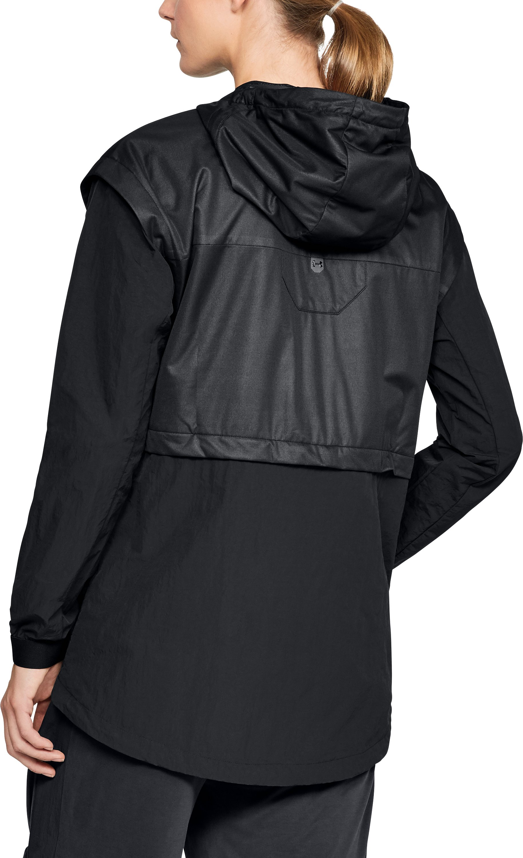 Women's UA Unstoppable GORE® WINDSTOPPER® Rain Cape, Black ,