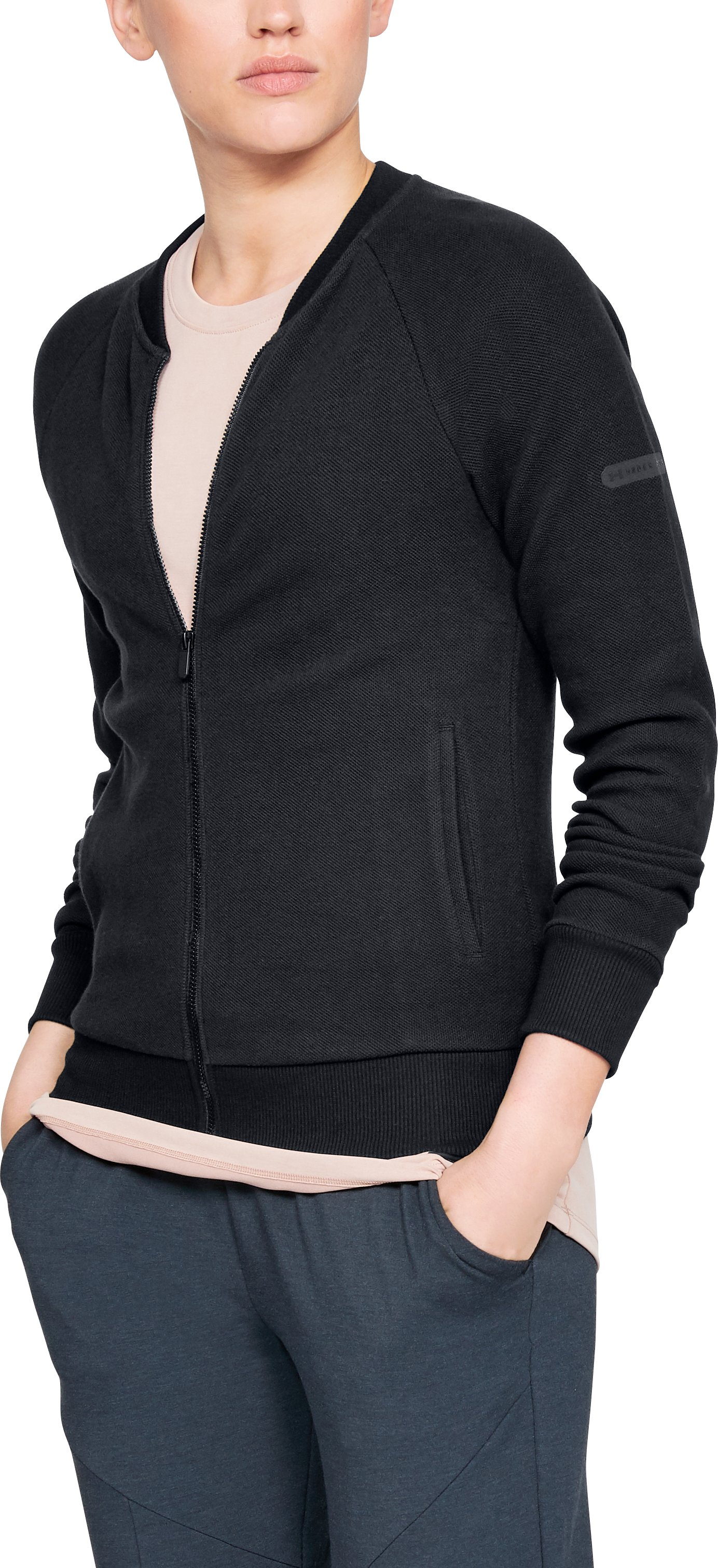Women's UA Unstoppable Pique Full Zip, Black , zoomed