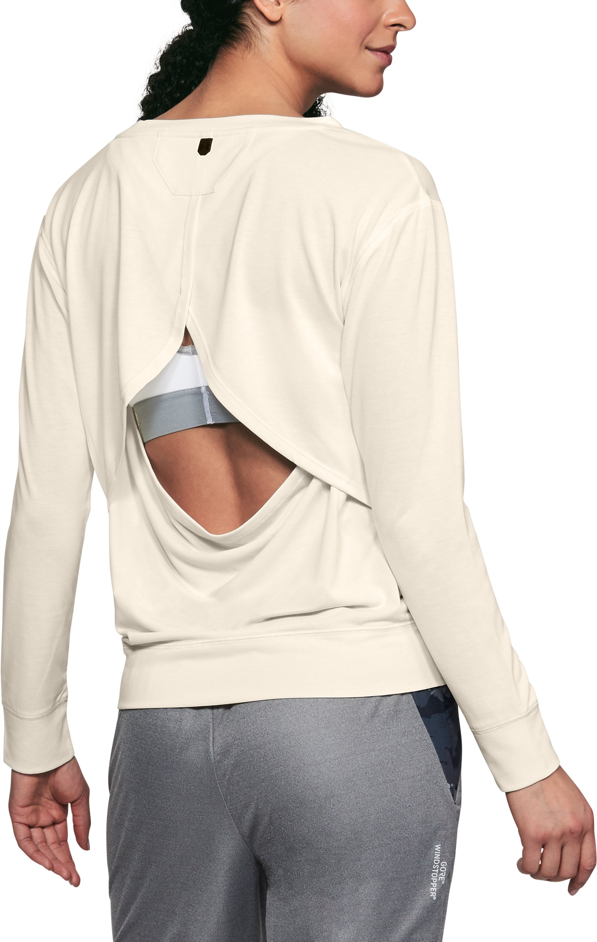 Women's UA Unstoppable Open Back Long Sleeve, TUFT WHITE, zoomed