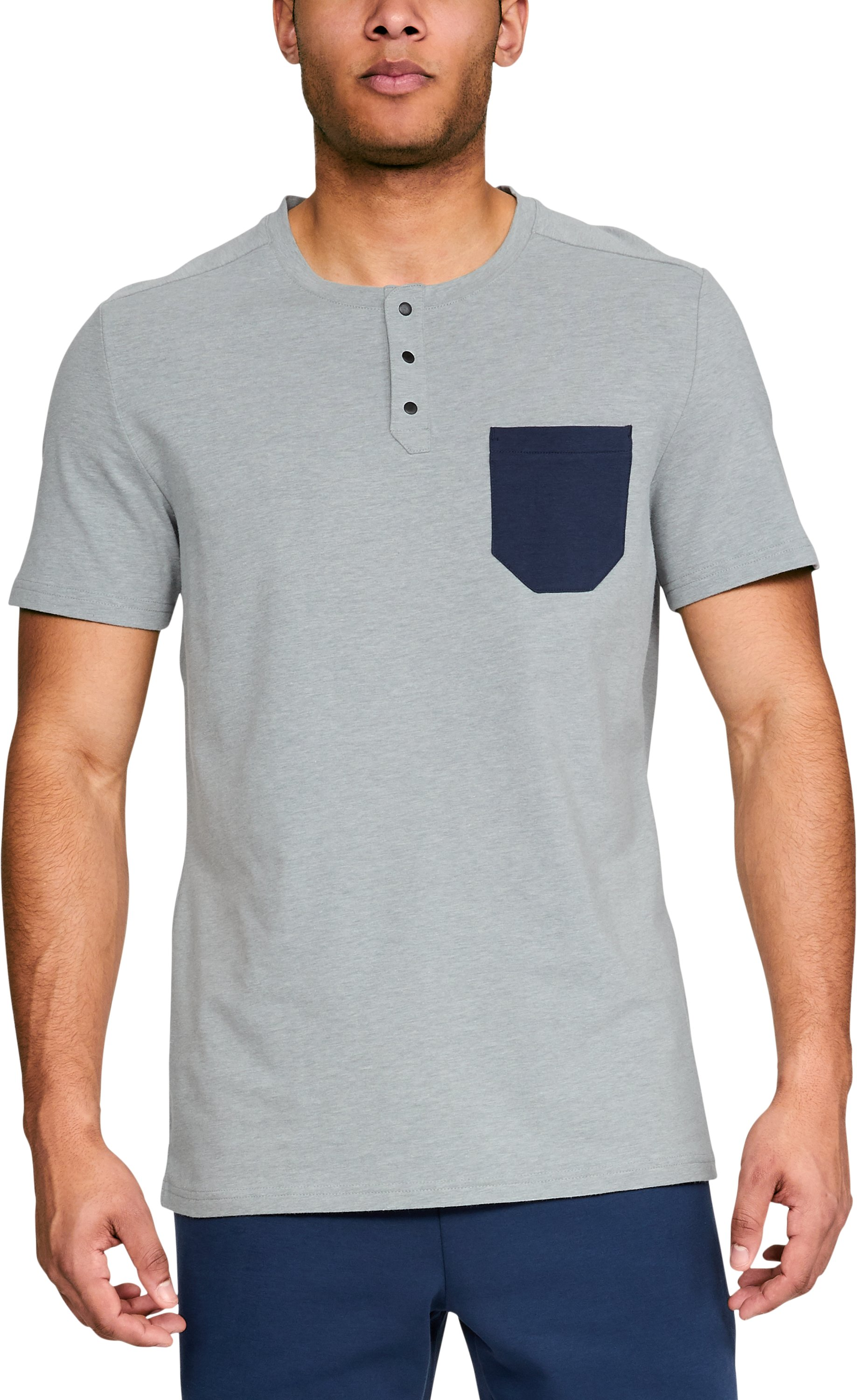short sleeve henleys Men's UA Unstoppable Short Sleeve Henley Shirt looks great enough to pair with anything - jeans, shorts chinos....Size large fits me perfectly at 6' 198lbs....These shirts are stylish, but very very comfortable.