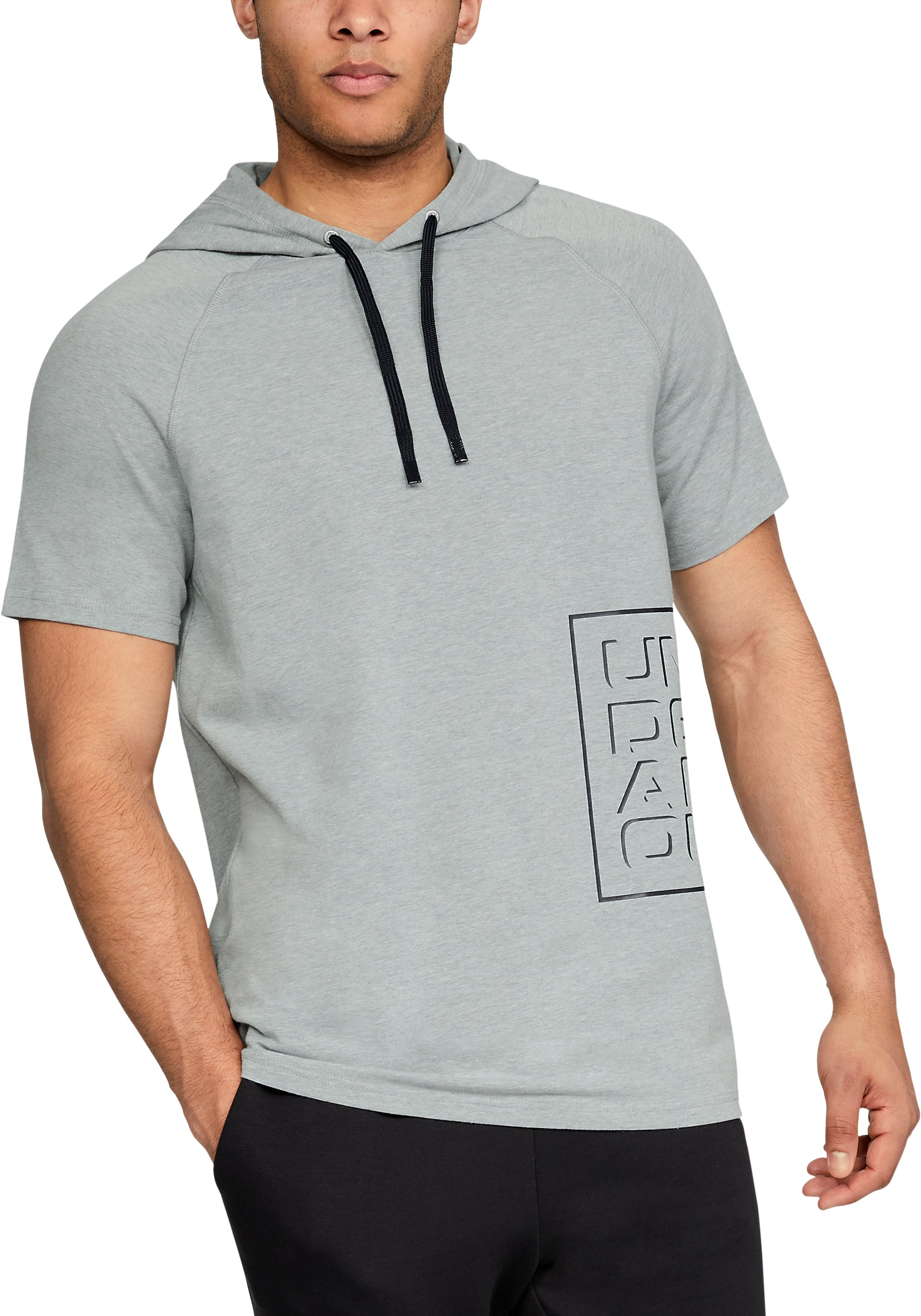 Men's UA Unstoppable Short Sleeve Hoodie, True Gray Heather, zoomed