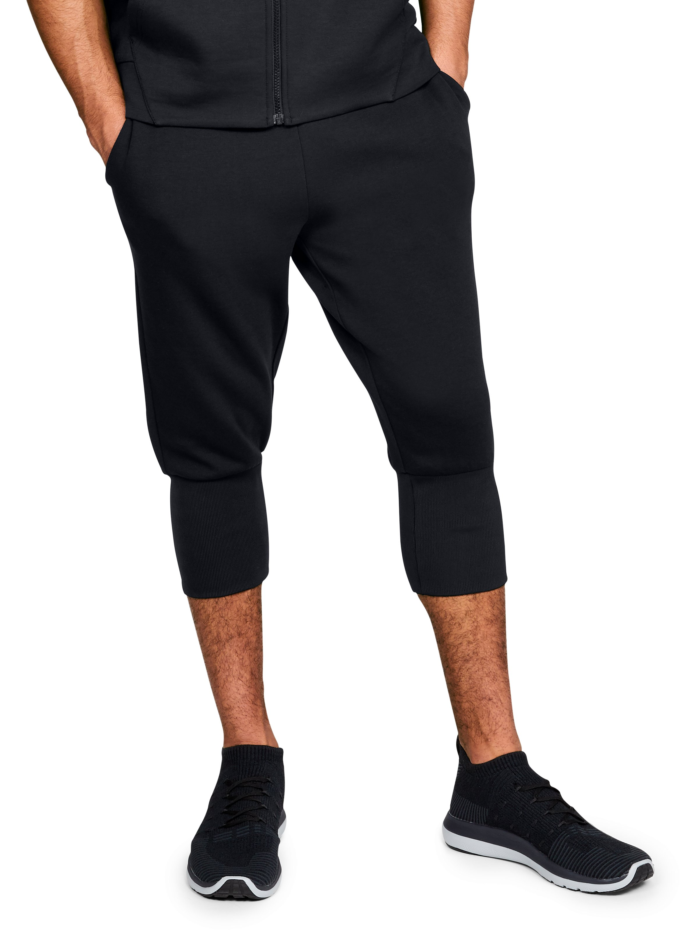 Men's UA Unstoppable Knit ¾ Joggers, Black , zoomed