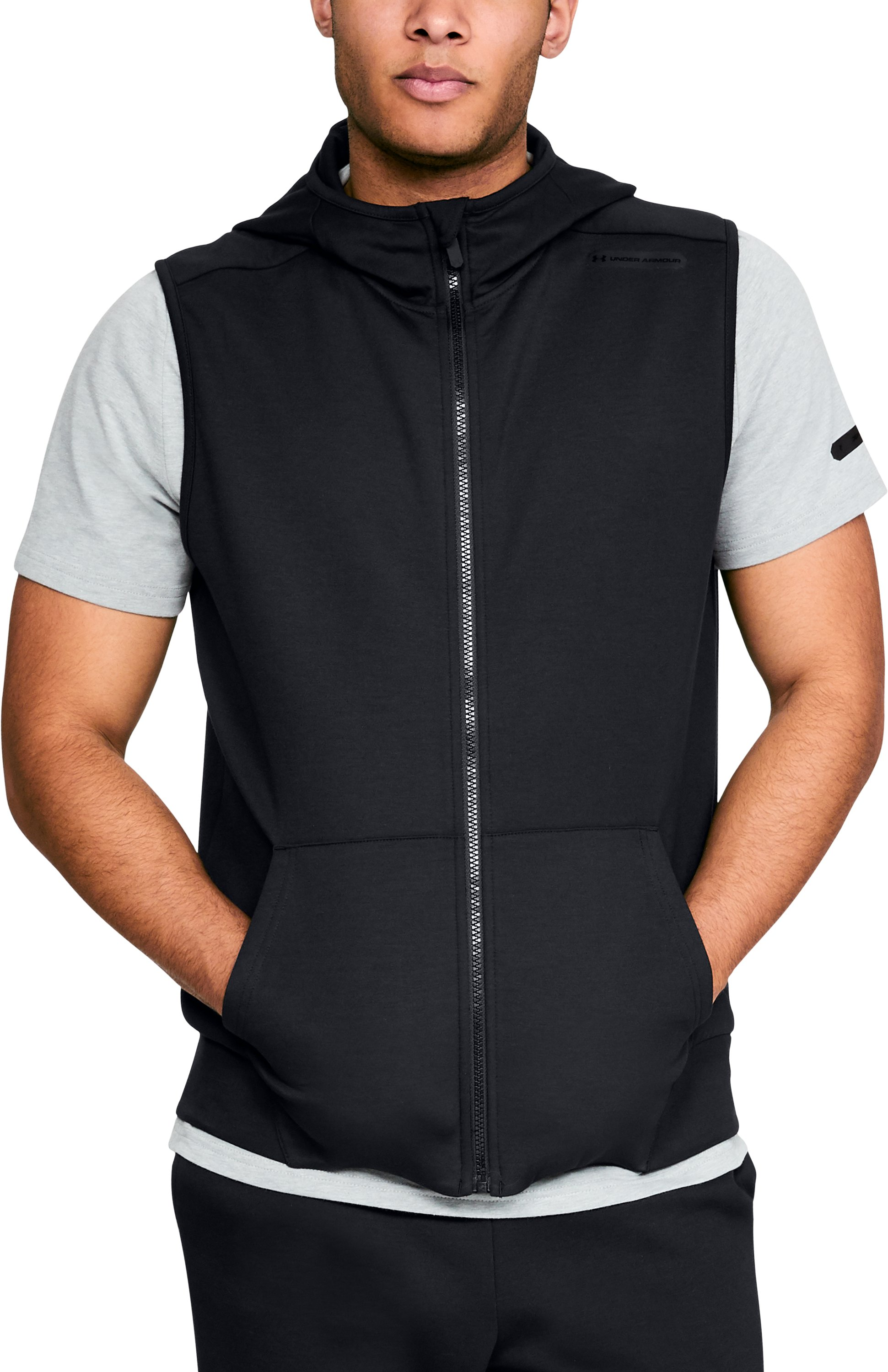 Men's UA Unstoppable Knit Sleeveless Full Zip, Black