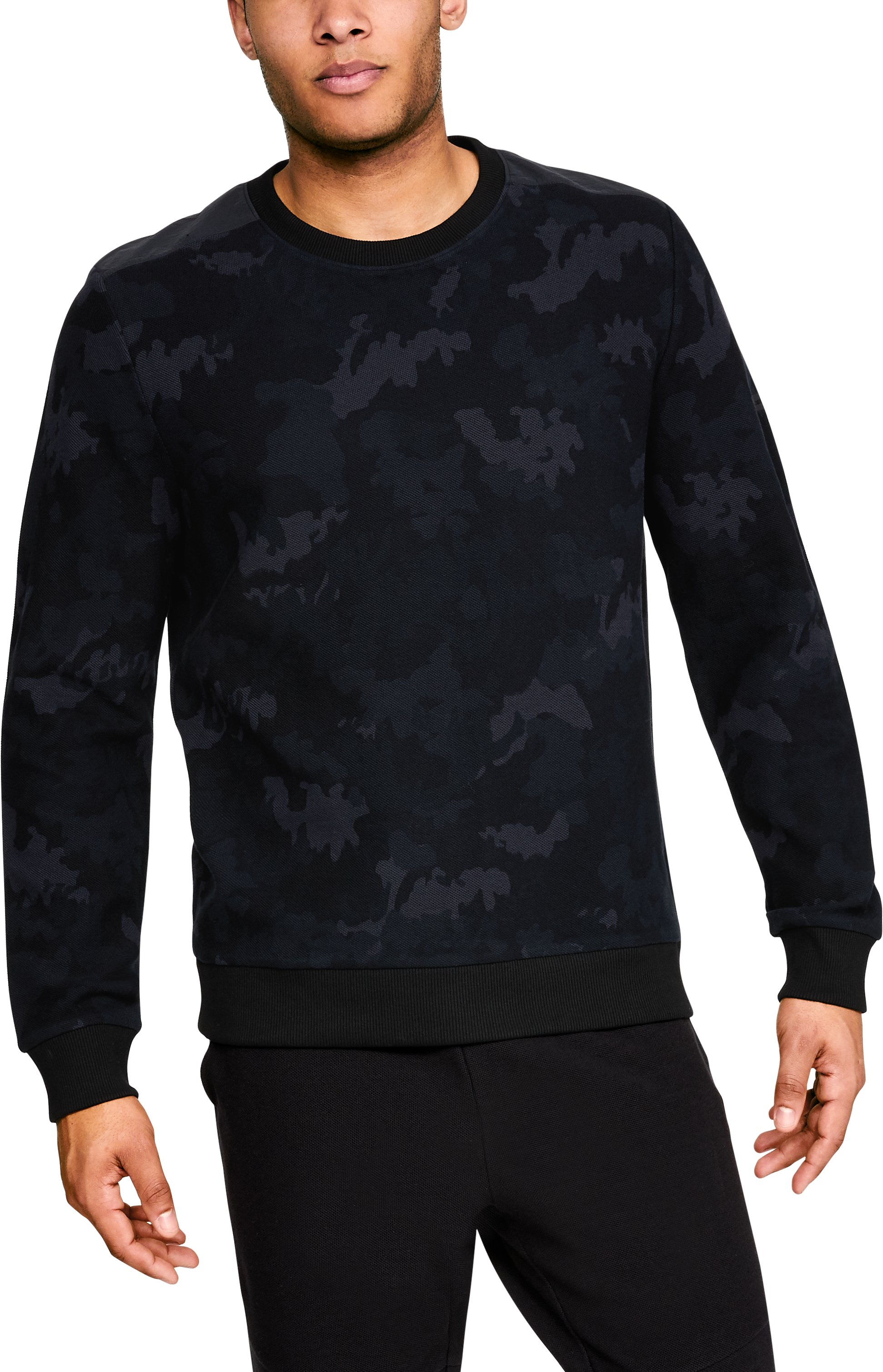 Men's UA Unstoppable Crew, Black , zoomed