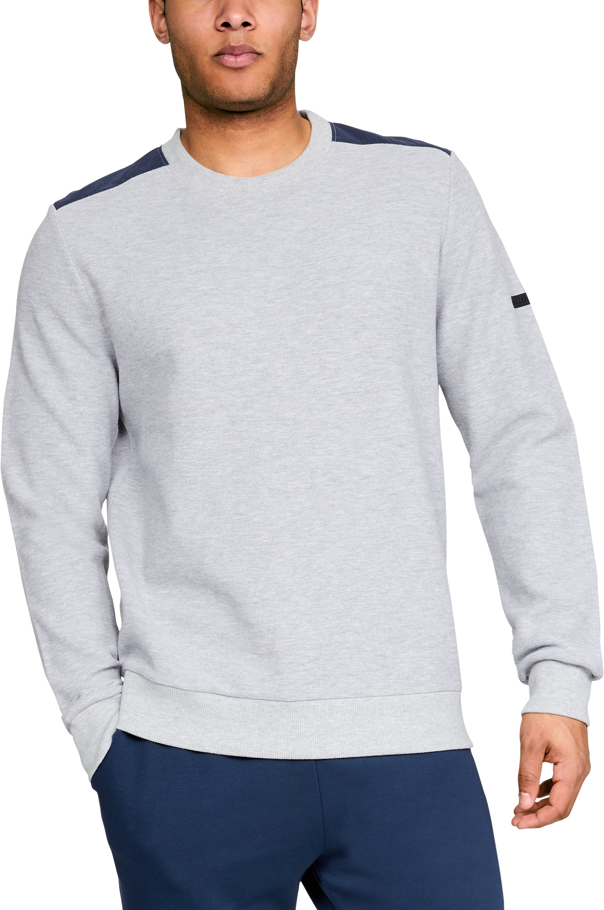 Men's UA Unstoppable Crew, True Gray Heather, zoomed