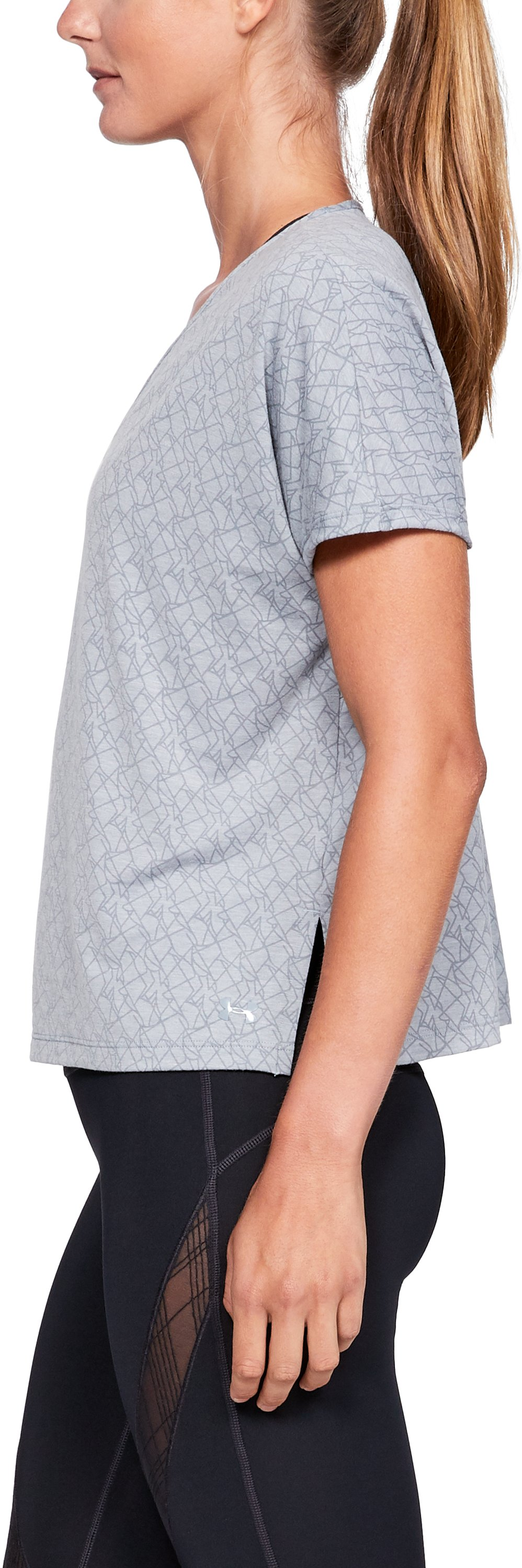 Women's UA Misty Burnout Short Sleeve, STEEL MEDIUM HEATHER,