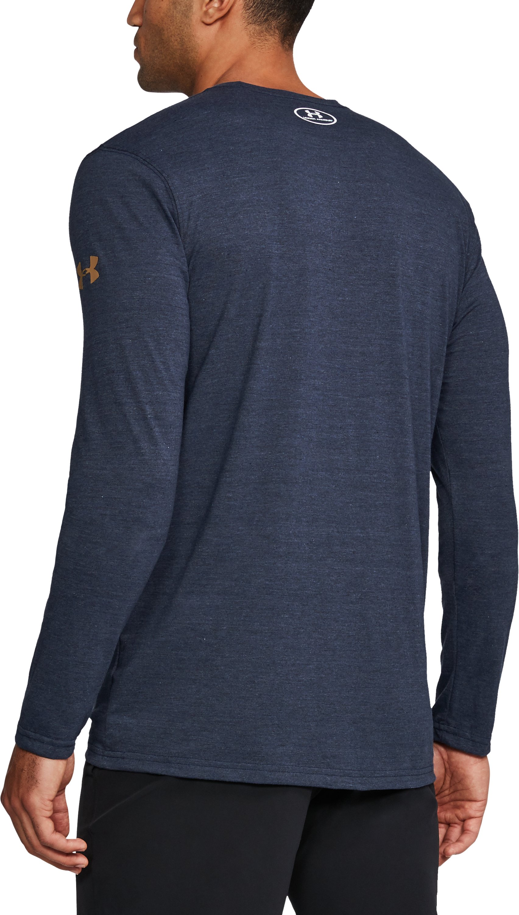 Men's Notre Dame UA Tri-Blend Long Sleeve T-Shirt, Midnight Navy, undefined