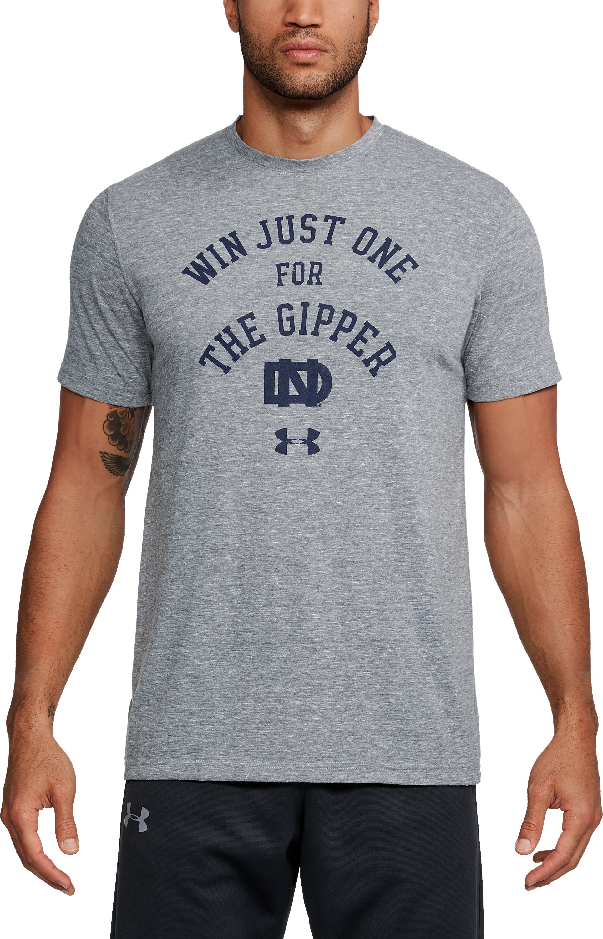 Men's Notre Dame UA Gipper Tri-Blend T-Shirt, LEGACY GRAY HEATHER, undefined