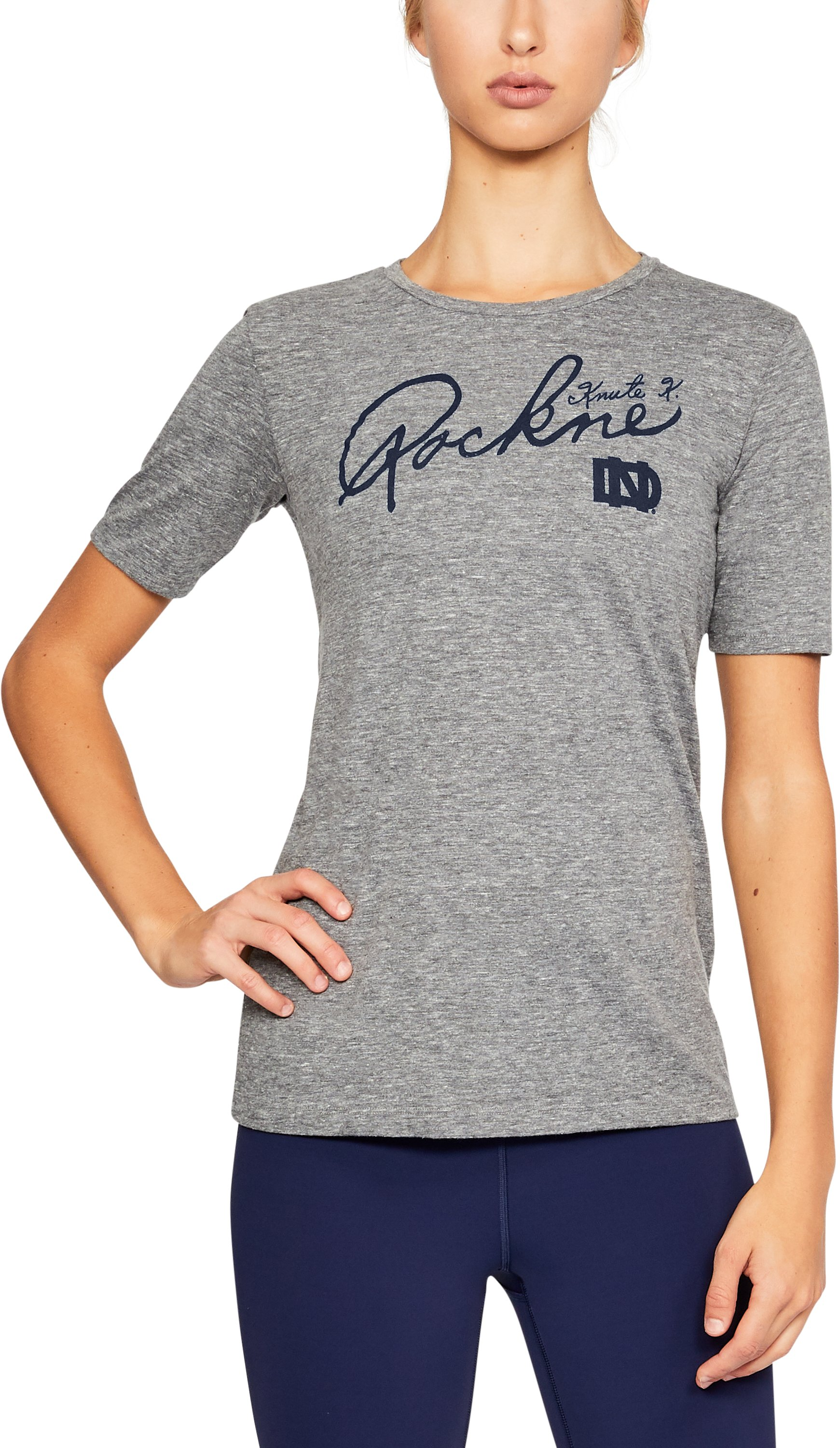Women's Notre Dame UA Tri-Blend T-Shirt, LEGACY GRAY HEATHER,