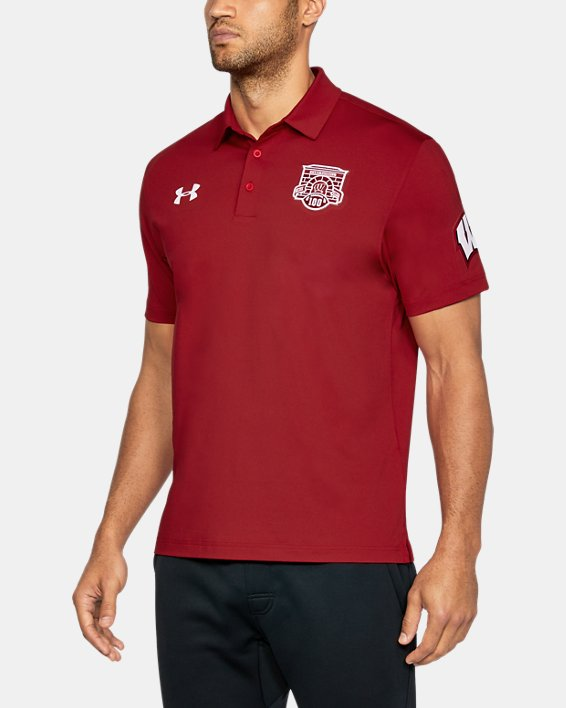 Men's Wisconsin UA Playoff Vented Polo, Red, pdpMainDesktop image number 0