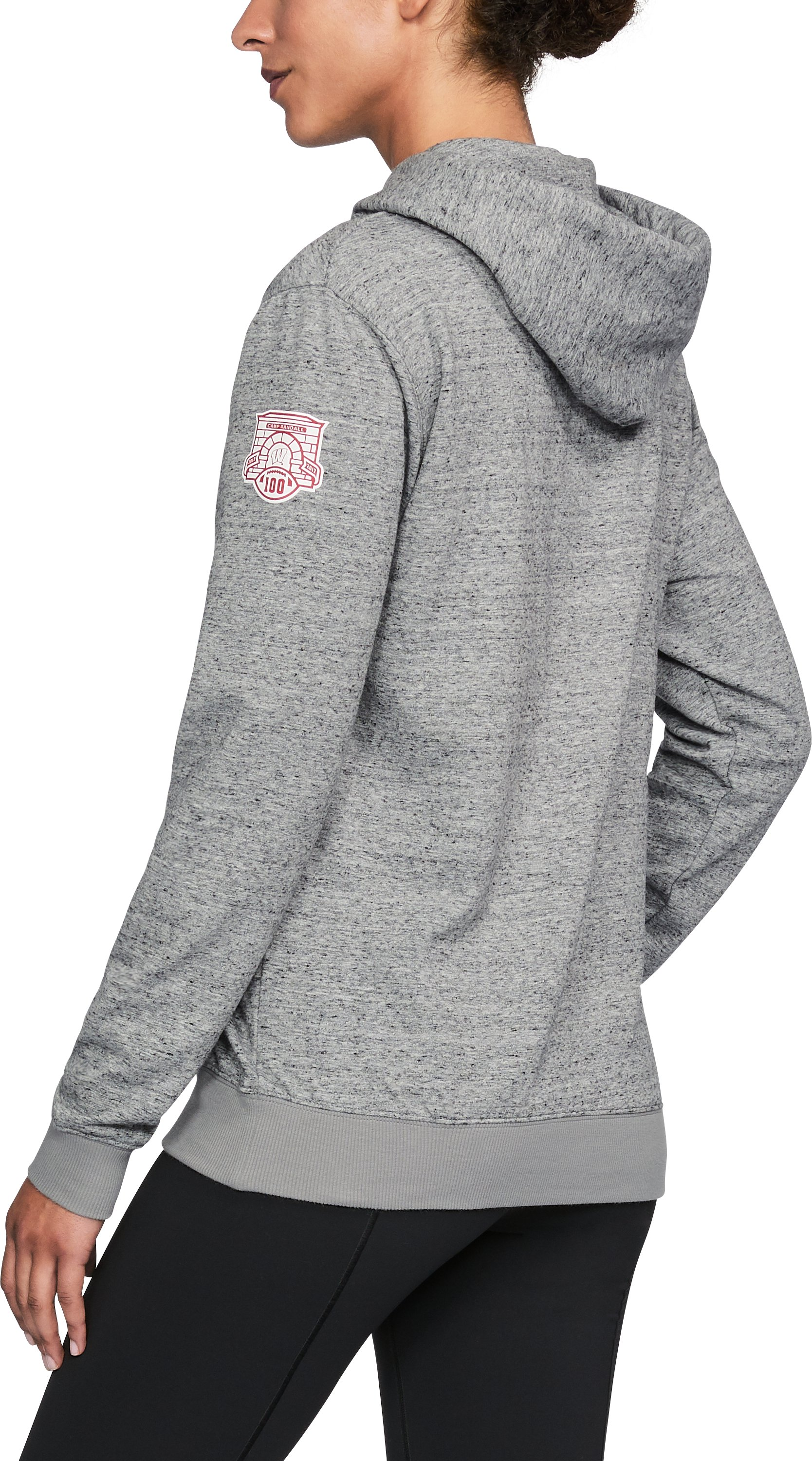 Women's Wisconsin UA Terry Hoodie, True Gray Heather