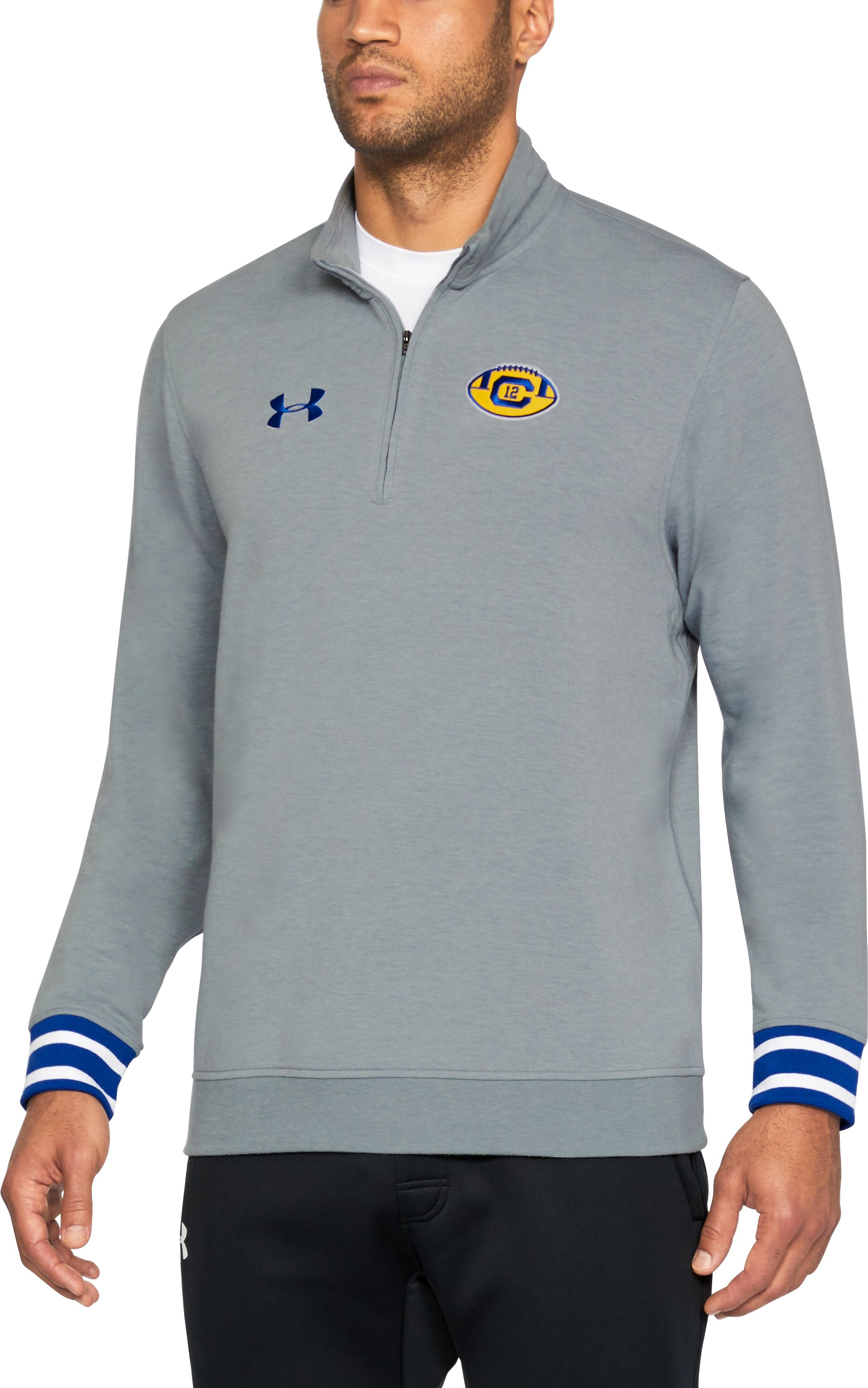 Men's Cal Bears UA SweaterFleece ¼ Zip Long Sleeve, True Gray Heather,