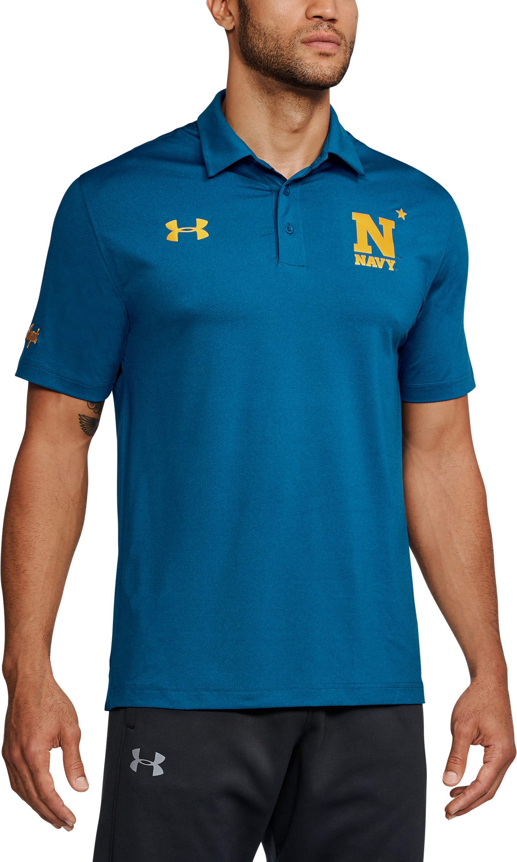Men's Naval Academy UA Playoff Vented Polo, Royal,