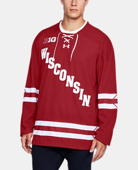 New Arrival Men's Wisconsin Hockey Replica Jersey  1 Color $105