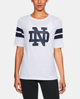 New Arrival Women's Notre Dame UA Iconic Charged Cotton® T-Shirt  1 Color $47.99