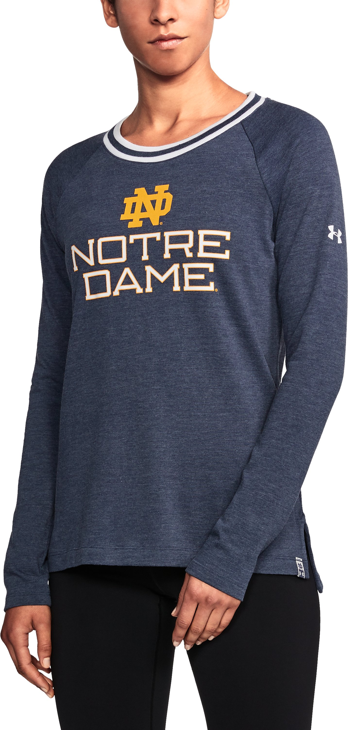 Women's Notre Dame UA Iconic Rugby Long Sleeve, Midnight Navy,