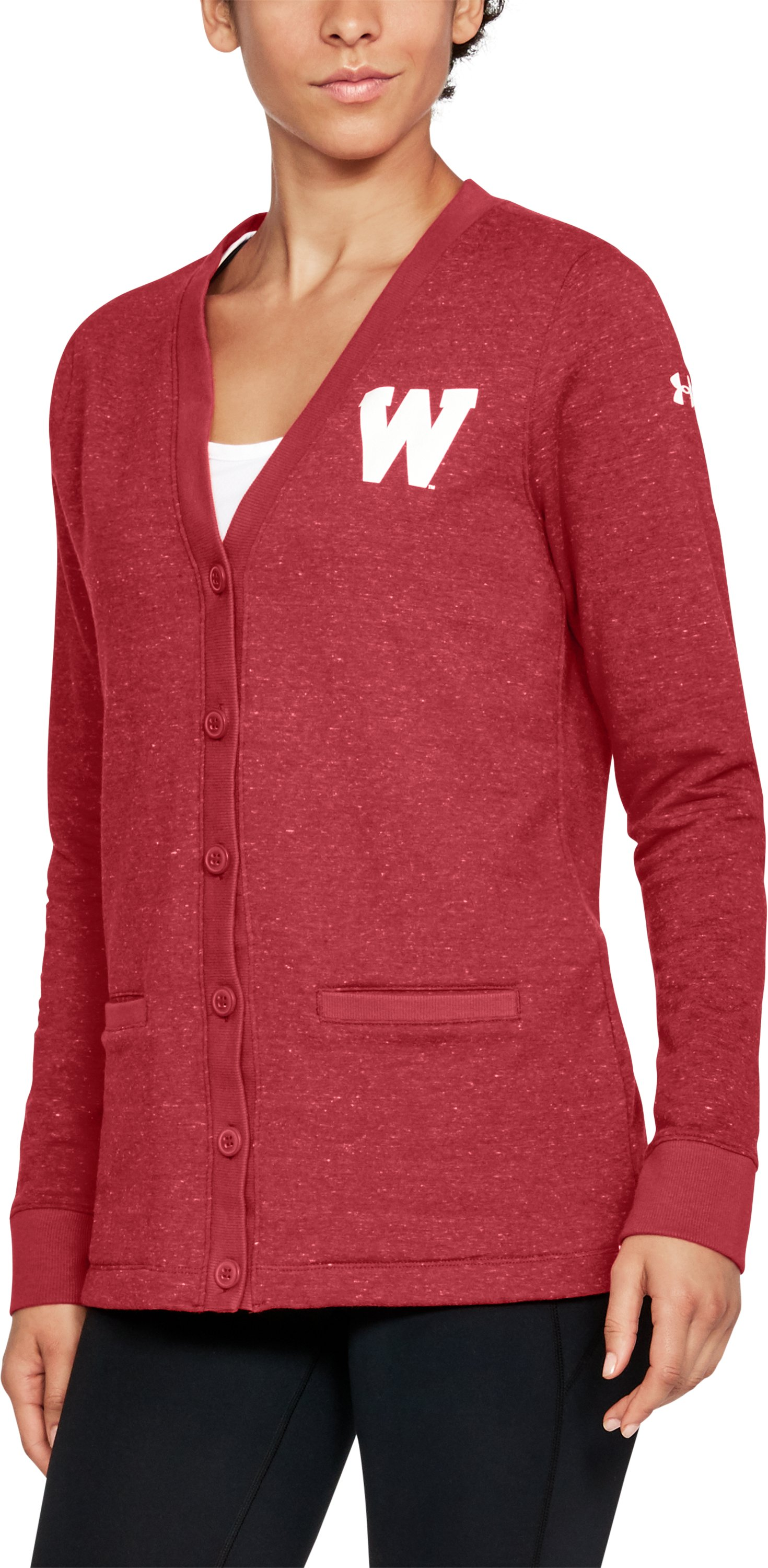 "iconic hoodies Women's Wisconsin UA Iconic Cardigan It's extrememly comfortable (sweatshirt material) yet looks like a nice sweater....The sizing is slightly large, which I like because it's longer and fits more like a ""boyfriend"" sweater."