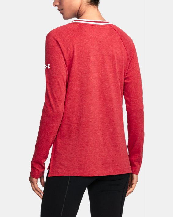 Women's Wisconsin UA Iconic Rugby Long Sleeve, Red, pdpMainDesktop image number 1