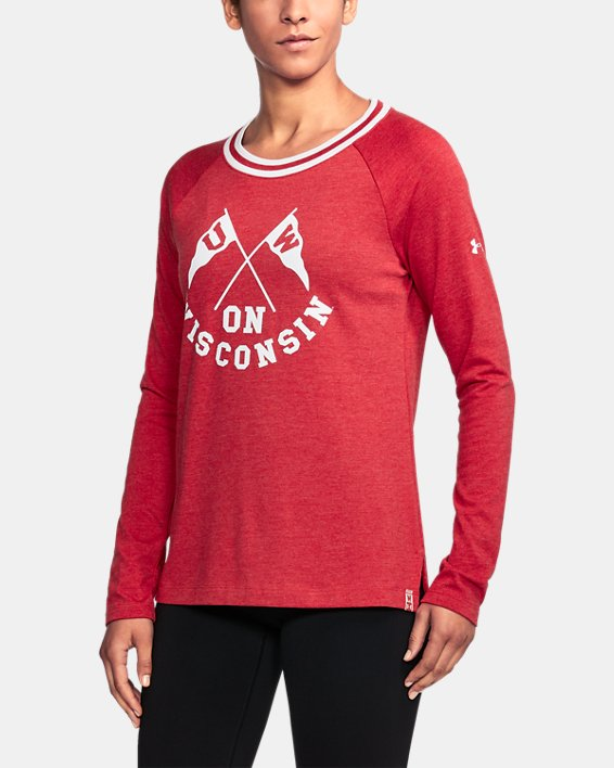Women's Wisconsin UA Iconic Rugby Long Sleeve, Red, pdpMainDesktop image number 0