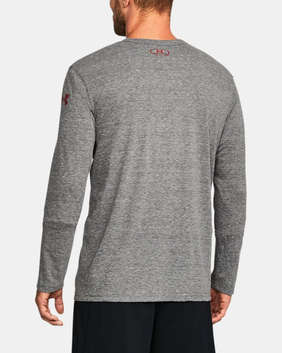 Men's Wisconsin UA Iconic Tri-Blend Long Sleeve T-Shirt, Gray, pdpMainDesktop image number 1