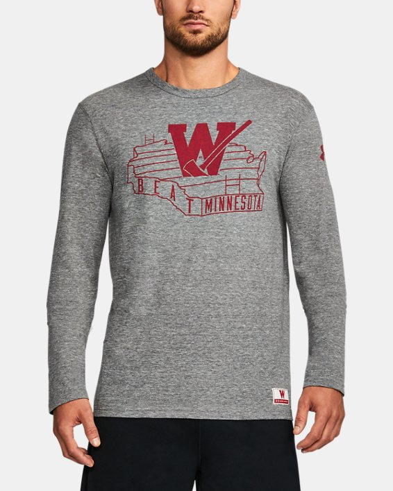 Men's Wisconsin UA Iconic Tri-Blend Long Sleeve T-Shirt, Gray, pdpMainDesktop image number 0