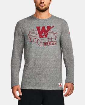 New Arrival Men's Wisconsin UA Iconic Tri-Blend Long Sleeve T-Shirt  1 Color $44.99