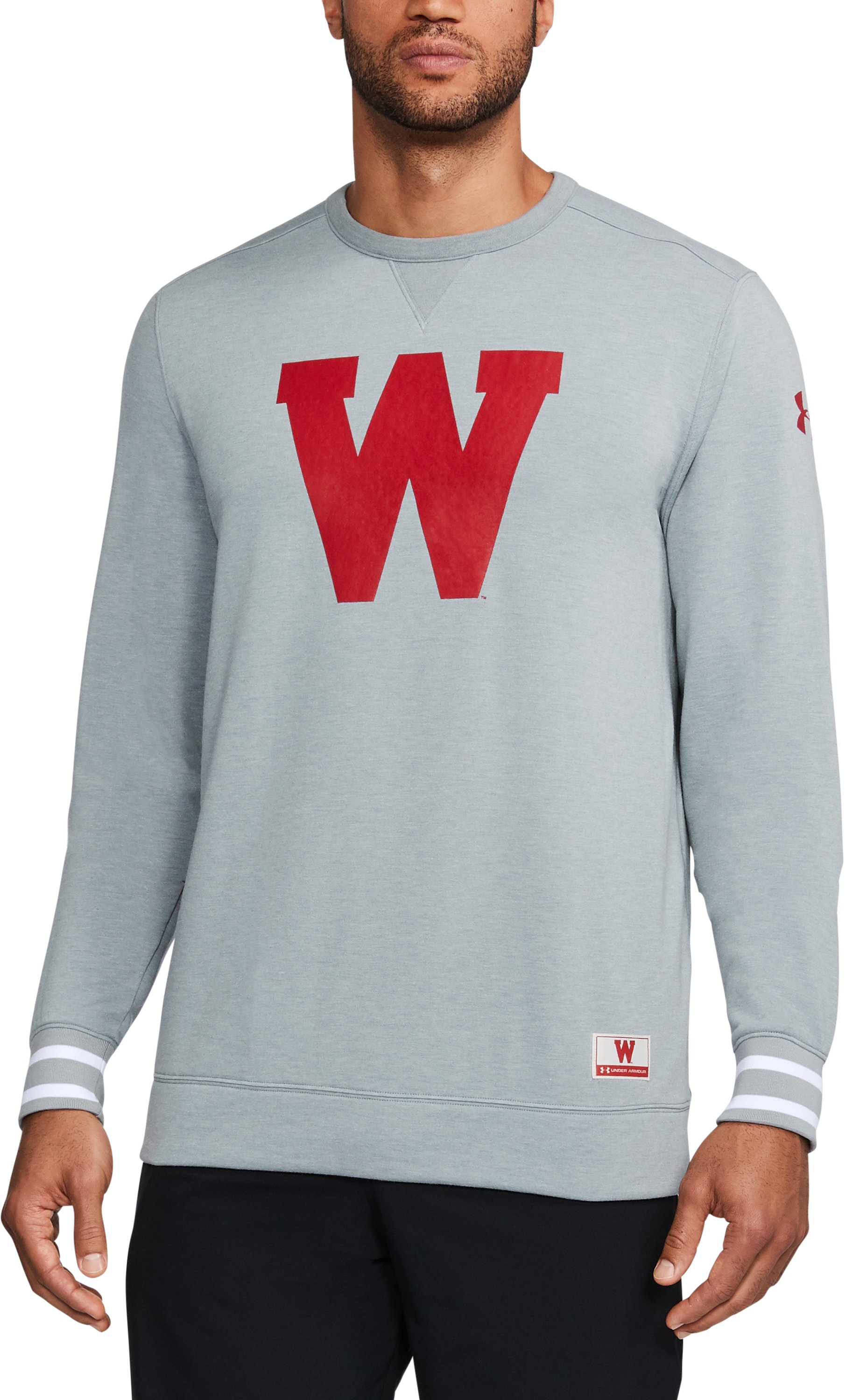 Men's Wisconsin UA Iconic Crew, Gray