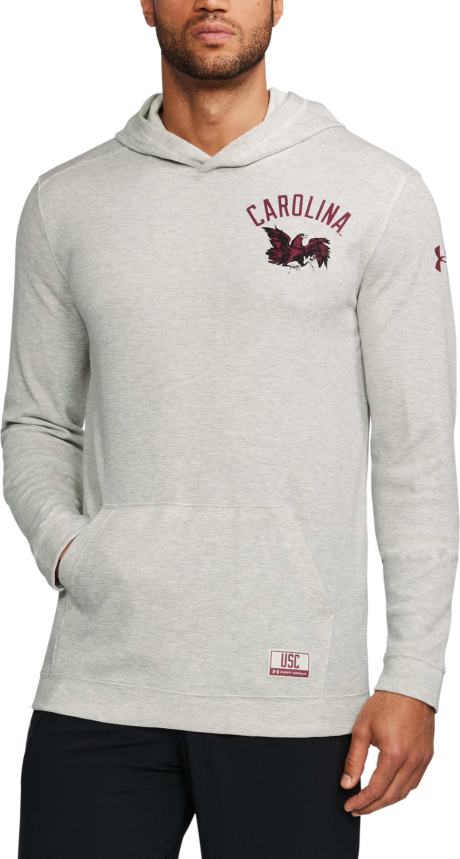 Men's South Carolina UA Iconic Waffle Hoodie, White, undefined