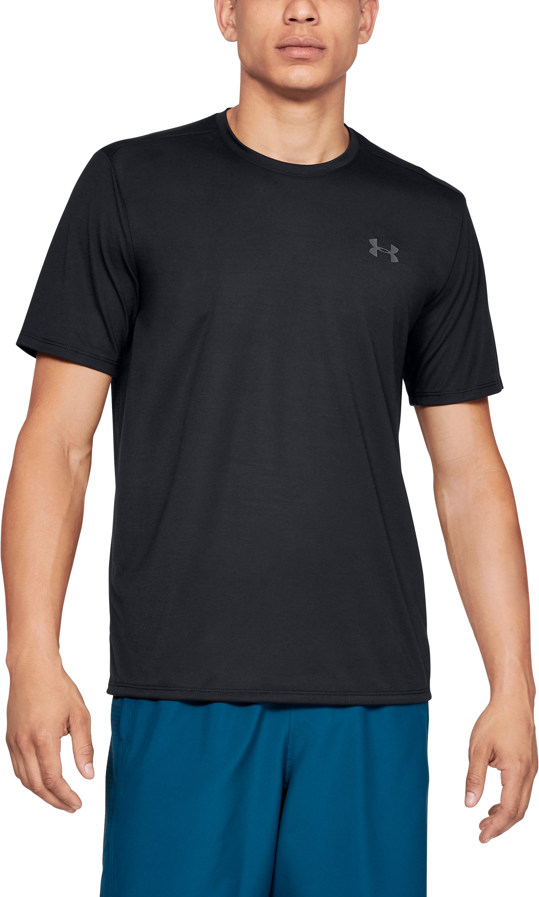 UA Threadborne SS, Black , zoomed