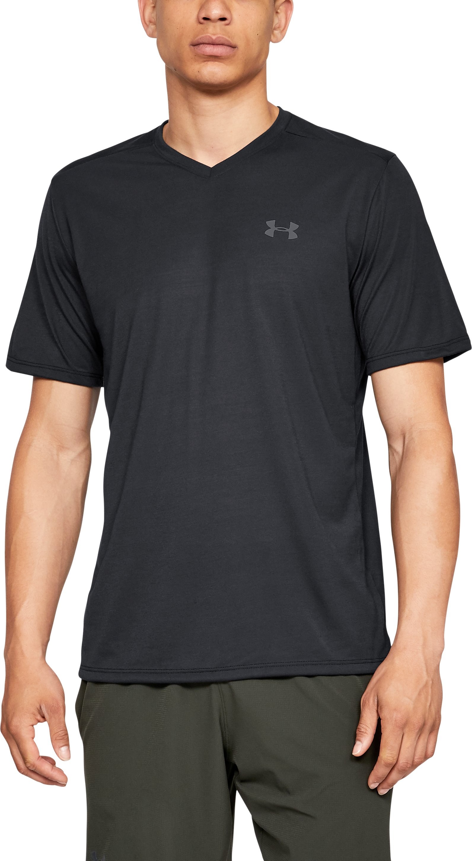 UA Threadborne SS Vneck, Black , zoomed