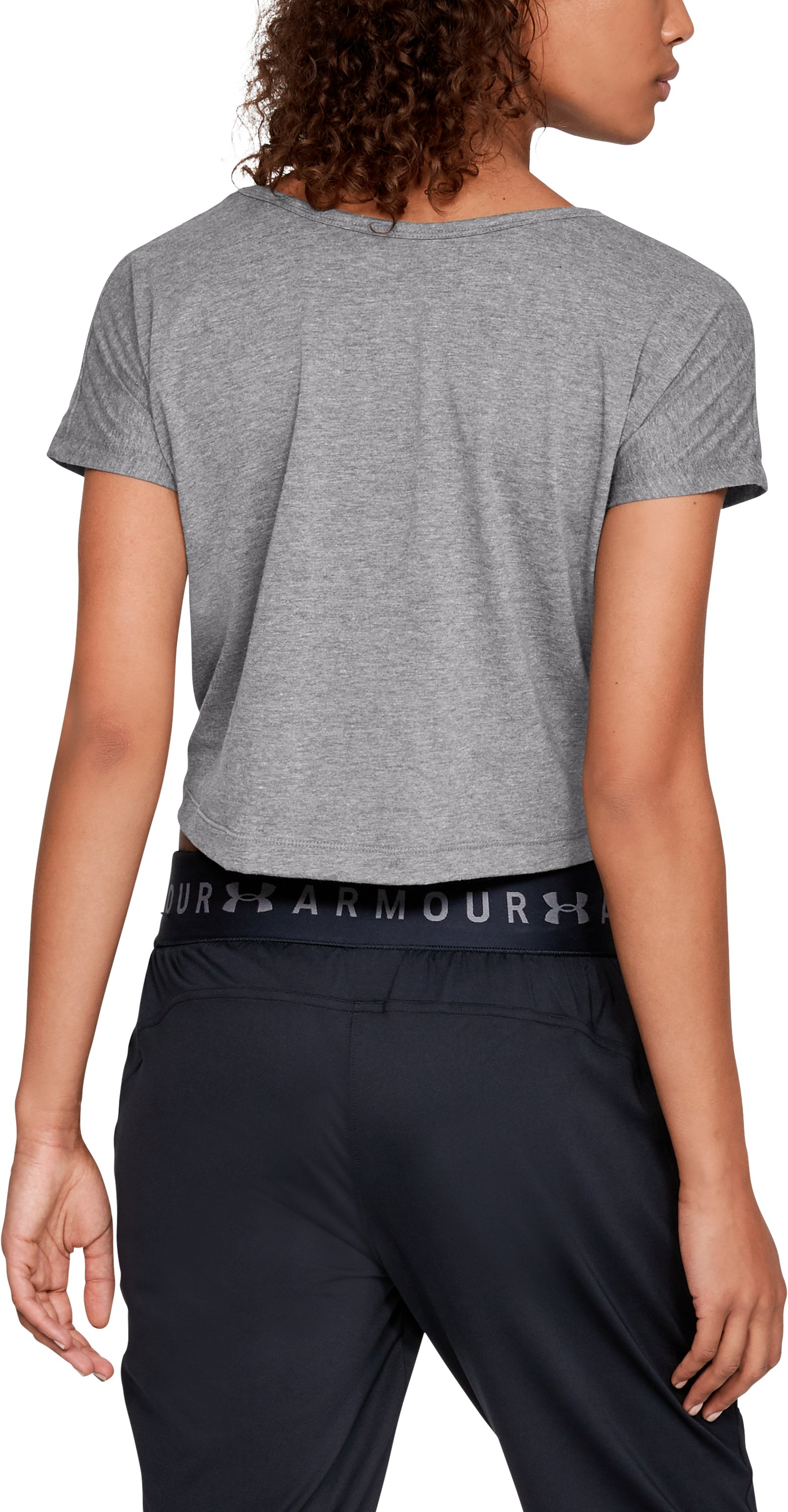 Women's UA Front Tie Short Sleeve, Charcoal Light Heather,