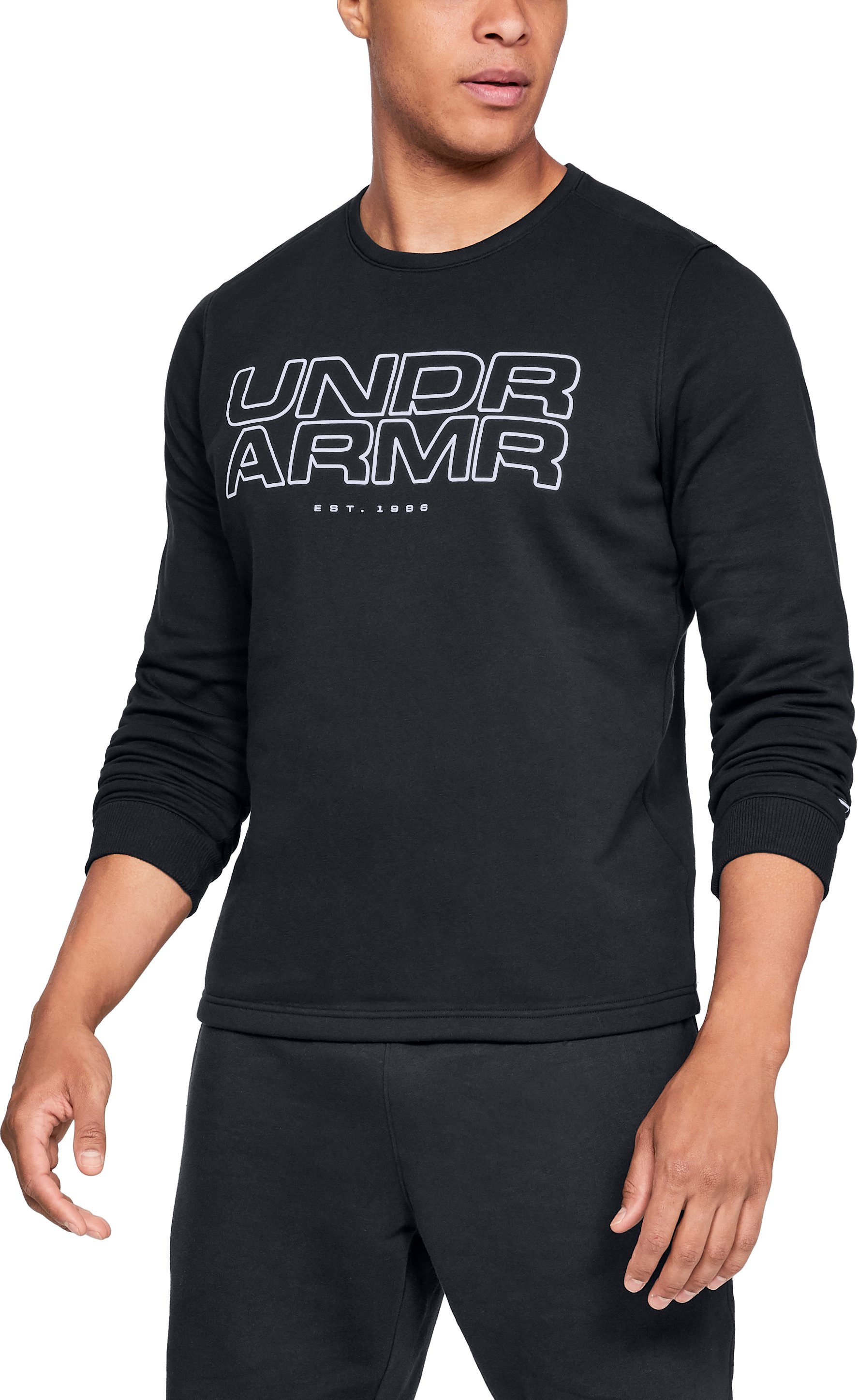 Men's UA Baseline Fleece Crew, Black , zoomed
