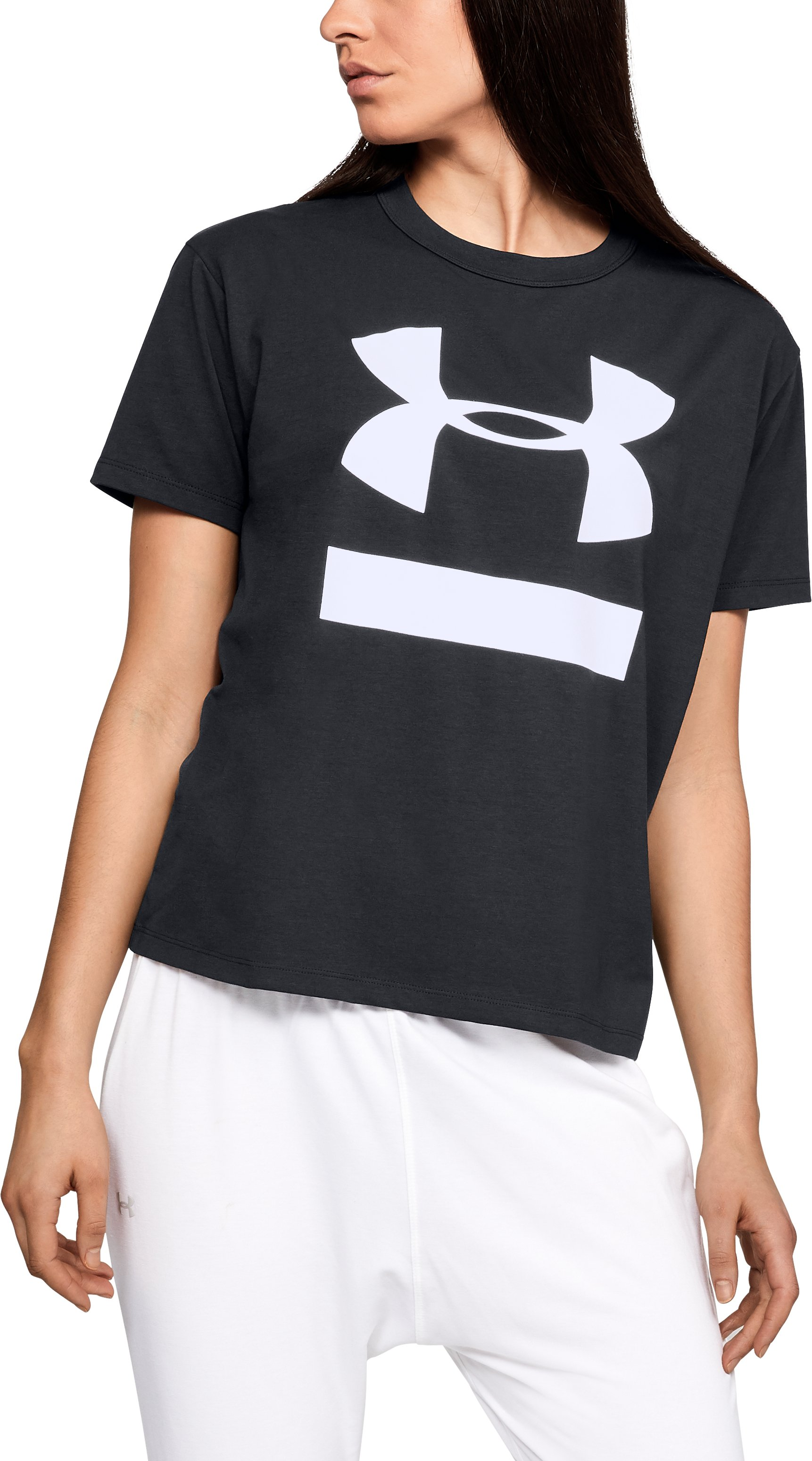 Women's UA Big Logo Girlfriend Crew, Black , zoomed