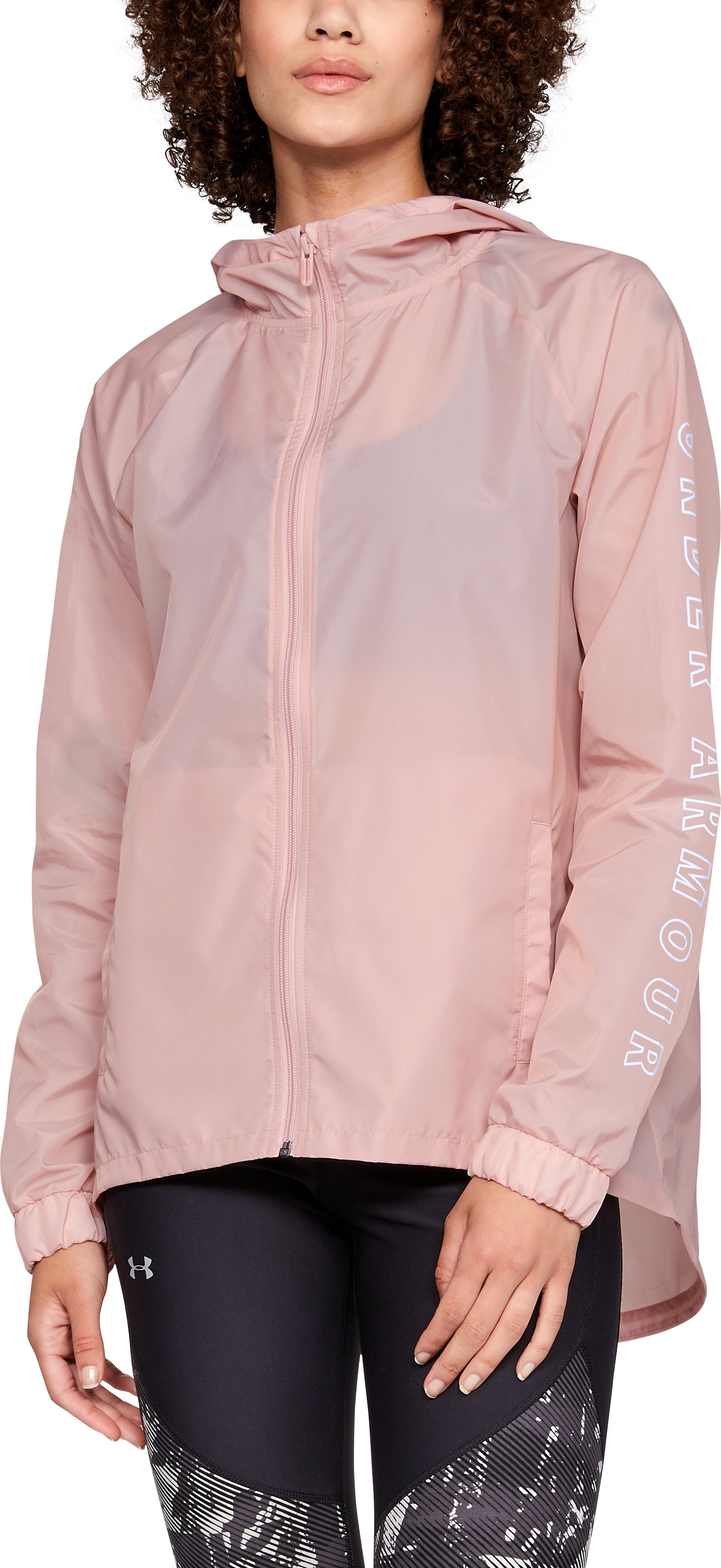 Women's UA Iridescent Woven Full Zip, Flushed Pink