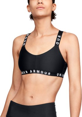 Under Armour Womens Mid Mesh Wordmark Black Gym Training Sports Bra Small