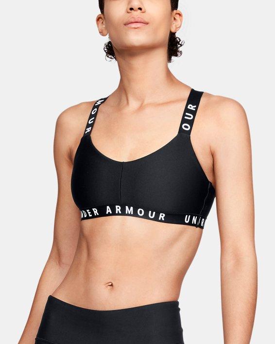 Womens UA Wordmark Strappy Sportlette, Black, pdpMainDesktop image number 0