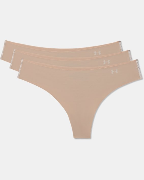 Women's UA Pure Stretch Thong 3-Pack, Brown, pdpMainDesktop image number 3