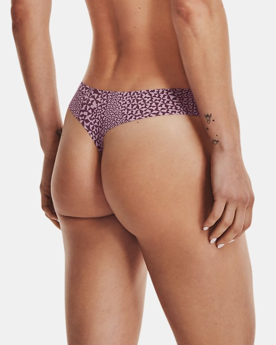 Women's UA Pure Stretch Thong 3-Pack Printed, Pink, pdpMainDesktop image number 1