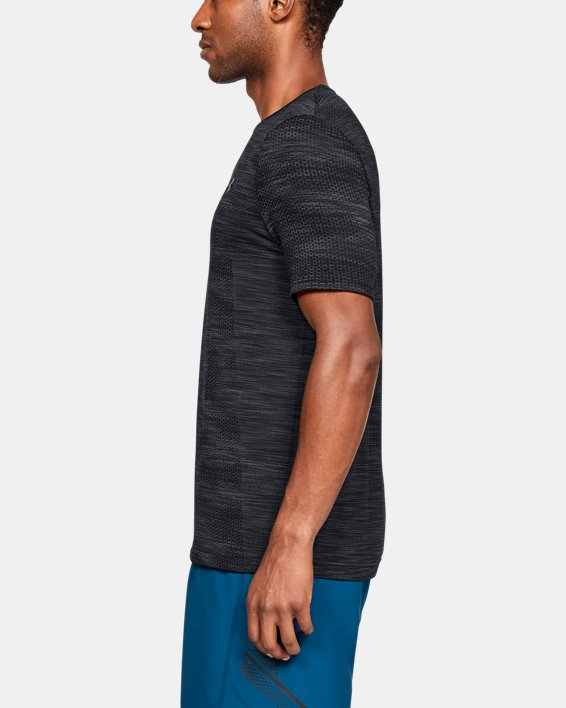Men's UA Vanish Seamless Camo Short Sleeve, Black, pdpMainDesktop image number 3