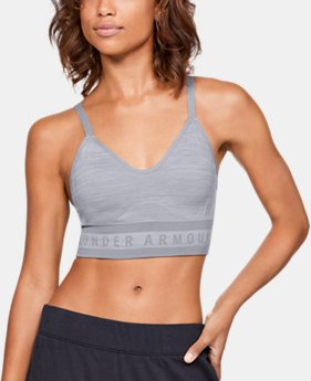 New Arrival  Women's UA Seamless Longline Heather Sports Bra  1  Color Available $45