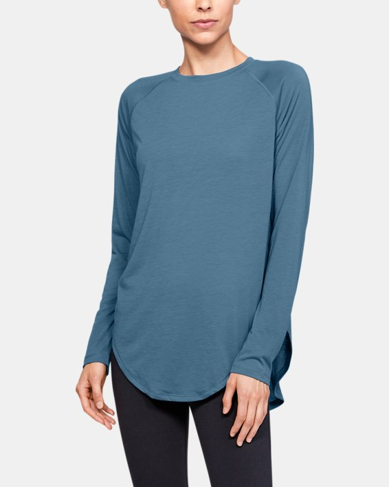 Women's UA Open Back Long Sleeve, Blue, pdpMainDesktop image number 0