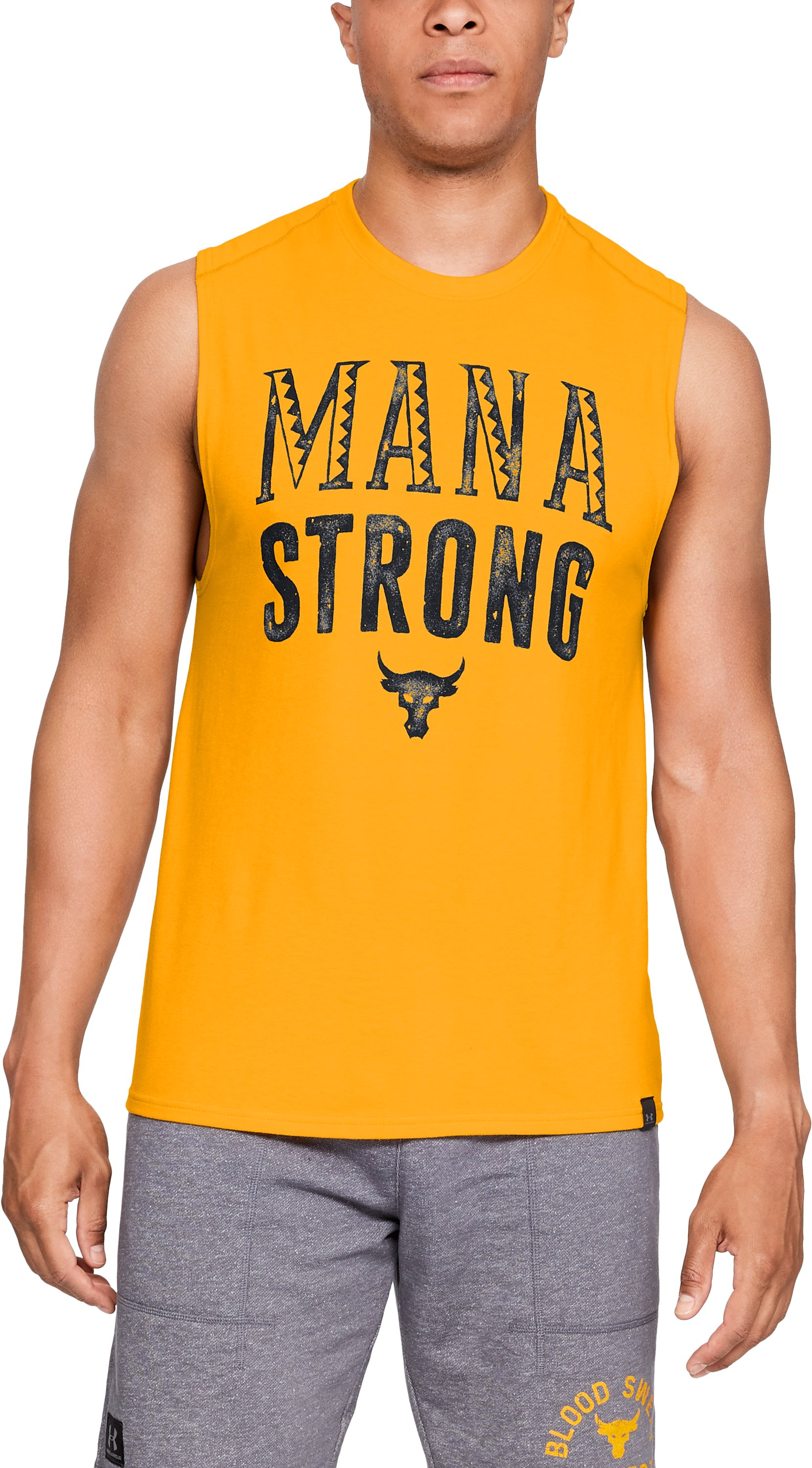 Men's UA x Project Rock Mana Strong Tank, Steeltown Gold, zoomed